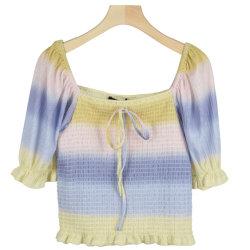 Ss21 Ladies Smoking 러플 슬리브 폴리에스테르 패션 탑 티셔츠