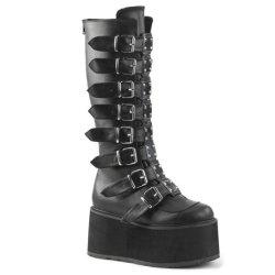 Moda Mujer Zapatos de Tacón Zapatos de damas de la marca de la plataforma de seguridad abrochado correas botas altas