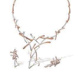 Color oro rosa Collar y aretes joyas regalos Set se ajusta a la boda, Prom, damas de honor o la madre de novia