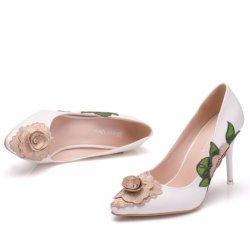 High Heels Damen Schuhe Frauen Pumps Spitze Blume Sexy Hochzeit Schuhe Anziehen