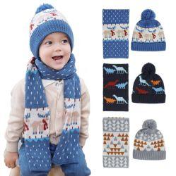 O inverno Kids Tricotadas Beanie Hat Cachecol Definido