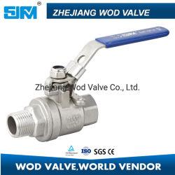 2PC F/M/roscado atornillado de inversión con cierre de válvula de bola de fundición, acero inoxidable SS304/CF8 lleno de agua de la cavidad de la válvula de bola/Industrial