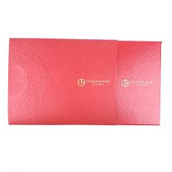 Papel de cor vermelho Caixa de oferta com chapa de ouro e logotipo Debossed