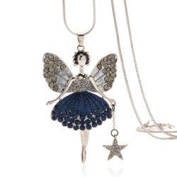 ملاك عقد [كز] أنثى شتاء عقد طويلة كنزة عقد أميرة [دكرأيشن] [فشيون] أميرة [بندنت] عقد من ملاك جنيحات
