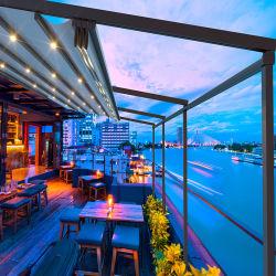 Patio terraza cubierta de lona de aluminio toldo retráctil toldo con cortinas