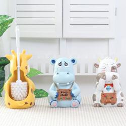 Kreative Badezimmer-Toiletten-Speicher-Toiletten-Pinsel-Halter-Ausgangsharz-Zubehör-Fußboden-Dekoration-nette Kuh-Tier-Dekorationen