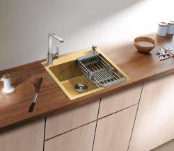 اغسل حوض الذهب الأصفر Nano 555 × 510، مم 201/304 خزانة إكسسوارات المطبخ المصنوع يدويًا بشكل مضاد الصلب المقاوم للصدأ من Hfes5651