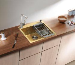 Geel Goud Nano 555× 510, mm 201/304 Kabinet Accessoires Countertop Handmade handgemaakte Keuken roestvrij stalen sink uit Hfes5651