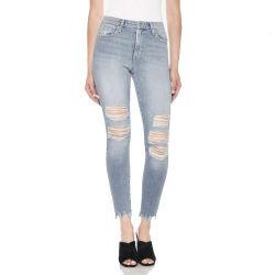 Verblassen populäre Großhandelsmassendenim-Frauen-Jeans zerrissene Schaden-Entwurfs-gerades Bein-beiläufige Hosen-Mädchen-Farbe Beweis-Breathable reizvolle Rips beunruhigte Hose-Dame