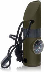 1개의 야영 하이킹 옥외 생존 여행 나침의 돋보기 LED 플래쉬 등 온도계 비상사태 호각에 대하여 다중 기능적인 7