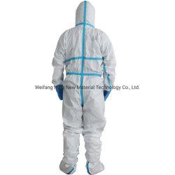 Trajes Hazmat descuento Ropa de Protección Industrial 60-65g/m² PP+PE Sf no Tejido microporoso con capucha blanca Ropa Hospital Overoles desechables