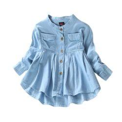 데님 걸은 옷을 갈아입다 가을의 아기 소녀 청바지 셔츠 뉴 솔리드 진 어린이 키즈 긴팔 만다린 칼라 패션 풀