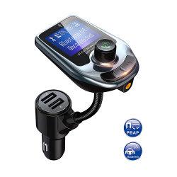 FM 송신기 Bluetooth 5.0 차량용 키트 LED 디스플레이 듀얼 USB 차량용 충전기 2.1A 2 포트 USB MP3 뮤직 플레이어