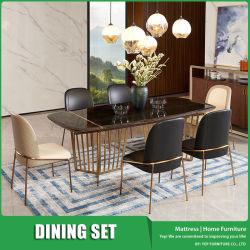 Meubilair van de Eettafel van de rechthoek het Marmeren die met Hoge Achter het Dineren Stoel in Modern Ontwerp wordt geplaatst