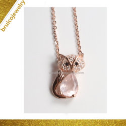 목걸이 사슬 로듐 색깔 목걸이 금 보석 Fox 동물 목걸이