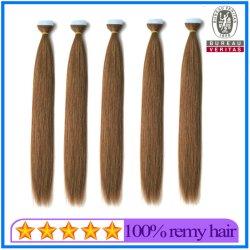 Venda por grosso de cor castanha 20 Polegadas Virgem Brasileira Fita Reta Extensão de cabelo