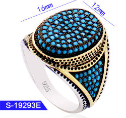 New Model Fashion Jewelry 925 Sterling Silver Micro メンズ Rings with Turquoise Stone