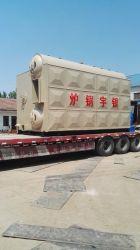 L'horizontale de 6 tonnes de bois de chauffage automatique de la grille de la chaîne de tambour double chaudière à vapeur au charbon