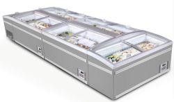 Supermercado Combinação Horizontal Island Exibir congelador com porta de vidro superior