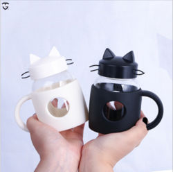 O logotipo personalizado engraçado beber chá café borossilicato transparente Caneca Sumo de leite vidro vidro plástico Cat Cup chá de vidro caneca com pega