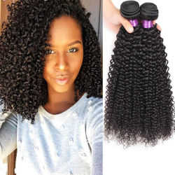 La beauté 1 pièce en mongol Afro Kinky Curly Tissage de cheveux humains 10-22pouces noir naturel Remy Hair