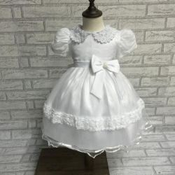 Short Slveese 2168の工場Wholesales White Baby Christening Dress Grils Infant Gown