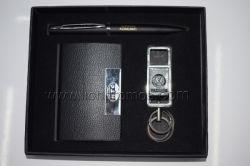 ハイエンドビジネスギフトの個人的なロゴの決め付けるペンのキーホルダーの名刺ボックスギフトセット