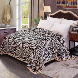 Zebra Reversible microfibra franela franja gruesa lana lanzar cobija caliente