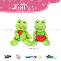De Kikker van de Dieren van de valentijnskaart met het Stuk speelgoed van de Pluche van de Bloem en van het Hart