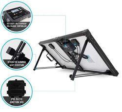 200W 12V 접이식 태양 에너지 패널 키트 - Rzf200MB - G3 방수 충전 컨트롤러 휴대용 여행 가방 실외 20A 단결정 2pcs 100W 블랙 디자인