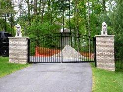 Polvere nera di alluminio di doppia apertura ricoperta/cancello piegante rivestito del PVC Drieway