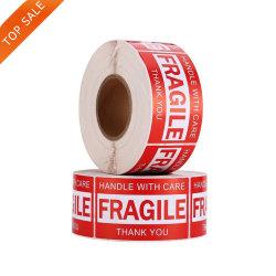Commerce de gros rouleau auto-adhésif Emballage signe d'avertissement des étiquettes en papier fragile des autocollants
