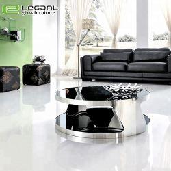 Plateau en verre trempé peint noir Round Table à café