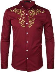 OEM Men′ S Luxury Gold Embroidered Slim 긴팔 버튼 셔츠