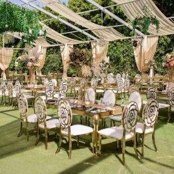 Arredamento moderno Classic White Event Metal Hotel Hall Chiavari Tiffany Banchetti sedia per matrimoni Gold banchetti sedia da pranzo Sedie ristorante cena Sedie da tavolo