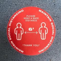 La señal de seguridad por favor, la práctica distanciamiento social suelo firmar