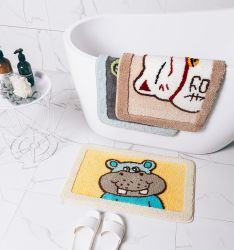 الحصيرة الأرضية الكورية الامتزاز المياه الحمام حصيرة منع الانزلاق رسوم كاريكاتورية جميلة باب حصيرة منزل السجاد