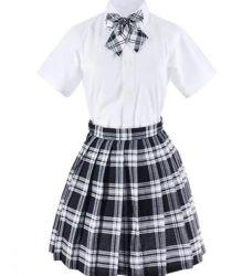 Custom Белый хлопок Клетчатую рубашку с юбка и школьная форма