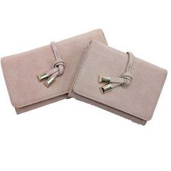 Neuer PU-Leder-Kontrast-Veloursleder-Frauen-Fonds mit dem Knoten gefaltet, Reißverschluss-Tasche und Lots Schlitze