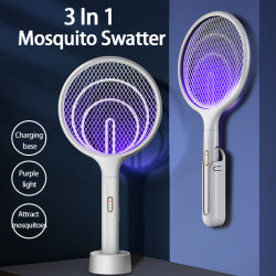 USB funcional Mosquito Recarregável Killer Racket Electric Swatter Mosquito com a base de carregamento