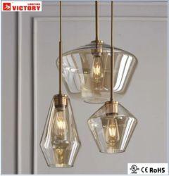 가벼운 펀던트 램프를 거는 현대 금 금속 코냑 유리제 샹들리에