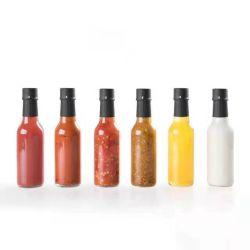 155ml Cheap Woozy vide Spice piment Hot sauce vinaigrette salade de bouteilles en verre pour la sauce avec capuchon