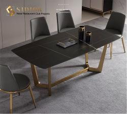 Retângulo de alta qualidade restaurante forma metálica de ferro Preto Branco 12 lugares mesas de jantar de luxo