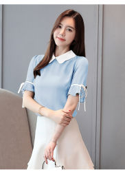 Frauen-Blusen-Chiffon- Kleidungs-Kurzschluss-Büro-tägliche Weinlese-Dame-Hemden
