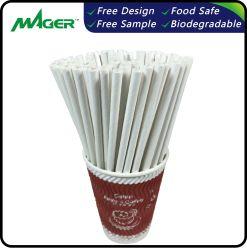 White Eco-Friendly beber biodegradável com palha de papel padrão da FDA