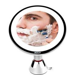 Miroir de maquillage avec éclairage à LED, miroir de maquillage éclairé grossissement 10X 360 degrés avec verrou de rotation libre de gradation d'aspiration, imputables de voyage USB portable