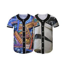 Granel por sublimação de tinta de alta qualidade por grosso de poliéster simples Mens Baseball Jersey com rótulo privado