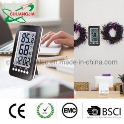 温度計の湿度計が付いている大きいLCDデジタルの机表の目覚し時計