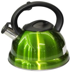 Grüner pfeifender Wasser-Kessel mit doppelter Unterseite und Plastikgriff