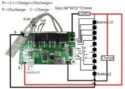مجموعات بطاريات مختلفة من نوع 10s 15A لوحة BMS مع لوحة إلكترونية المفتاح